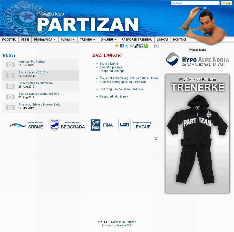 swimming club partizan official website